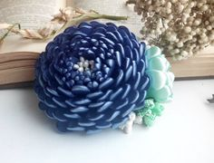Blue Hair Clip for Women/French Barrette/ Flower Hair Accessory Also perfect for Holiday Gifts, Birthdays, Church, Weddings, Flower Girls, or Family