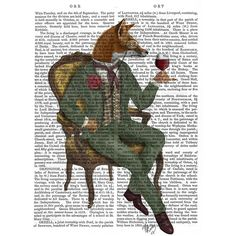 FabFunky Wine Taster Fox Print ($45) ❤ liked on Polyvore featuring home, home decor, wall art, fillers, multi, fox home decor, wine wall art, fox wall art, wine home decor and framed wall art
