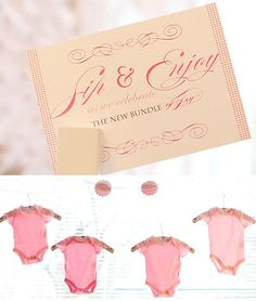 """""""Sip & Enjoy as we celebrate the new bundle of joy"""" cute wording for an invitation... but does """"enjoy"""" really rhyme with """"joy""""!?"""
