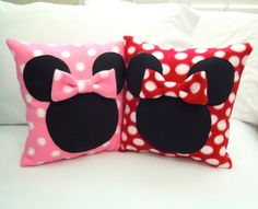 Minnie Mouse  Fleece Throw Pillow with Bow, Disney by PatternsOfWhimsy on Etsy