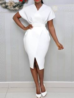 Elegant White African Fashion Plus Size Summer Women Midi Dresses Bodycon High Waist Sexy Split Office Ladies Female Chic Dress Chic Dress, Classy Dress, Office Dresses For Women, Clothes For Women, Cheap Clothes, Dress Outfits, Fashion Dresses, Midi Dresses, Ball Dresses