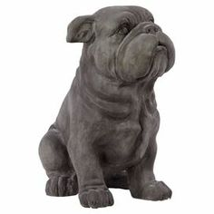 "I want this for my house! Weathered statuette with a sitting bulldog silhouette.   Product: Dog statuetteConstruction Material: PolystoneColor: GreyDimensions: 14.6"" H x 12.7"" W x 9"" D"