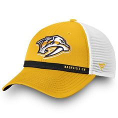 size 40 6b8d9 f7e82 Men s Nashville Predators Fanatics Branded Gold White Authentic Pro  Rinkside Trucker Adjustable Hat, Your