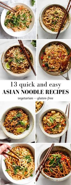 13 Quick Easy Asian Noodle Recipes - Filled with different flavours and spices, these 13 Easy Asian Noodle Recipes are the perfect dishes to whip up for a quick meal! Asian Noodle Recipes, Asian Dinner Recipes, Easy Asian Recipes, Healthy Recipes, Crockpot Asian Recipes, Vegetarian Rice Noodle Recipes, Recipes With Rice Noodles, Quick Food Recipes, Easy Vegetarian Dinner Recipes