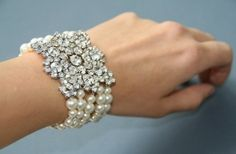 Vintage pearl and crystal bracelet by LADY_VIOLA