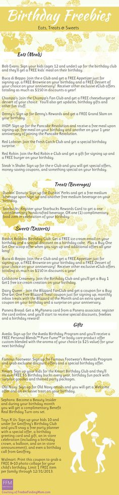 Here's a revised list of the best birthday freebies! Happy Birthday!
