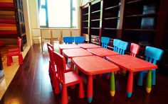 Photo about Kindergarten classroom or preschool classroom with small kids tables and chairs. Image of interior, child, children - 56688152