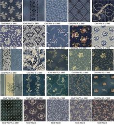 Blue 1860s reproduction fabric