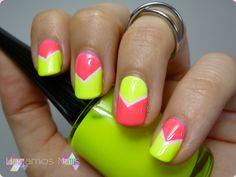 Neon chevron nail art . #nailart #chevron #neon