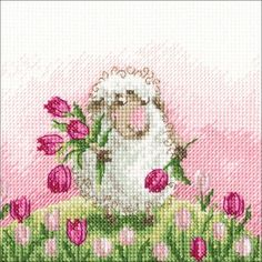 "♥ ""A Wish In Every Flower"" counted cross stitch kit by RTO.  Kit contains 14 count Zweigart Aida, pre-sorted DMC floss, John James needle, chart and instructions.  The finished size is 5"" x 5"". ♥"