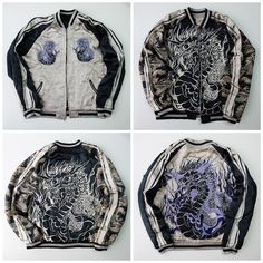 Japanese Dragon Ryu Orchestra HANATABI Yakuza Black White Souvenir Embroidery Sukajan Jacket - Japan Lover Me Store