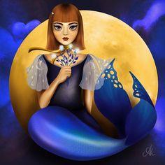 Mermaid zodiac, colours inspired by gemstones: 9 - Sapphire Drawing S, Mermaids, Disney Characters, Fictional Characters, Zodiac, Sapphire, Colours, Gemstones, Inspired