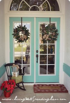 Exterior, Amazing Outdoor Christmas Decorations With Cool Wreath On The White Blue Glass Door: Captivating Outdoor Home Christmas Decorating...