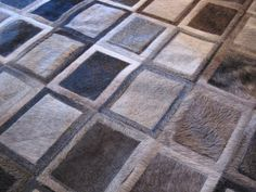 LIFESTYLE by Cara  --  Grey Custom Cowhide Patchwork Rug Cow Hide Leather Hairhide Carpet