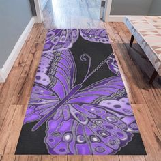 Bold, detailed butterfly pattern for nature lovers, in shades of blue & green. Purple Butterfly, Butterfly Pattern, Area Rug Runners, Shades Of Purple, Handmade Shop, Creative Gifts, Area Rugs, Teal, Kids Rugs