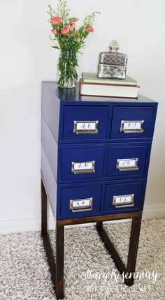 """Card Catalog Side Table"" -- The ""before"" of this gorgeous piece gave no indication of what was to come! Click through to see more photos and the ""before"" shot."