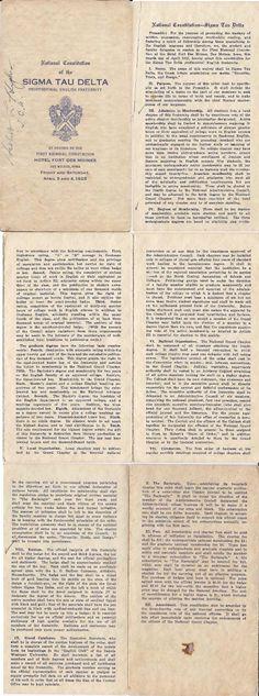 Sigma Tau Delta 1925 Constitution