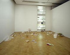 Koo Jeong-a, Sans Titre, 2001, Installation : bibliothèque en medium, néons, objets divers.