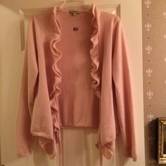 Burberry London Baby Pink Wrap Sweater Size large and fits true to size!! No rips/stains/pilling! I believe it's a wool or cashmere blend! Made in Italy! NO TRADES Burberry Sweaters V-Necks