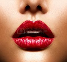 Lèvres Sexy Beauty Red Lips Makeup Banque d'images