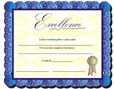 A certificate of excellence with a blue scalloped border and an embossed appearance. Free to download and print