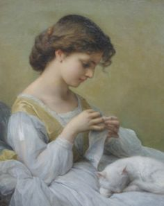 Adolphe Jourdan (French, 1825-1889)  Girl in White Dress with Cat