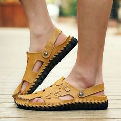 US $25.99 <Click to buy> Prelesty Summer Men Sandals Breathable Hollow Out Fashion Handmade Sewing Elastic Band Cow Leather Waterproof Beach Flats Shoes