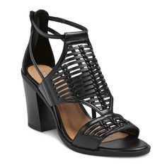 Women's Kerina Leather Braided Heeled Huarache Sandals - Black 5.5