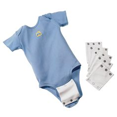 Onesie Extender by One Step Ahead help to stretch, haha – literally, the life of your baby's clothes. My baby was tall for his age and always outgrew the length before he filled out the body or arms.  These fit most any onesie!