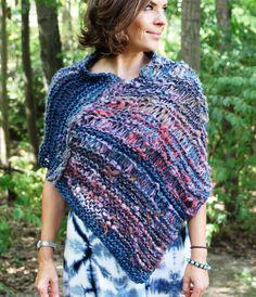 Bohemian Poncho Shoulder Wrap Scarf Asymetrical by KnitPlayLove