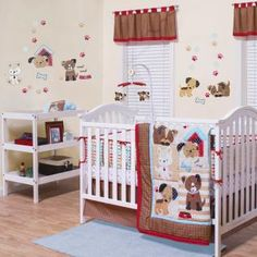 Nothing is more adorable than babies and puppies. And when they are together, it's just precious! The Puppy Play collection will make a darling nursery for your little one. It features cute puppies in brown, tan and white accented with red, black and blue in a variety of fun prints.