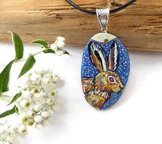 Hare Hare Necklace Hand Painted Jewelry Wearable Art