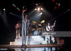 to R John Deacon Freddie Mercury Roger Taylor and Brian May of the English rock band Queen performing at Madison Square Garden in New York City in 1977 Photo by Waring Abbott