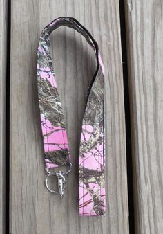 Girly Fabric Lanyard Pink Camouflage Lanyard ID by GabbysQuilts