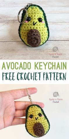 Crochet Diy Avocado Keychain - Spin a Yarn Crochet - This little avocado keychain is such a quick and fun project! You can easily whip this little guy up in… Kawaii Crochet, Crochet Food, Crochet Gifts, Cute Crochet, Crochet Yarn, Crochet Cupcake, Crochet Patterns Amigurumi, Crochet Dolls, Knitted Dolls