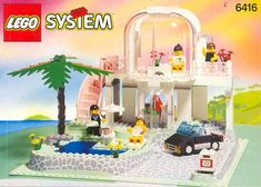 One of my favorite Lego sets growing up.  The Poolside Paradise set like much of the Paradisa Theme sets at the time included rare and somewhat specialist pieces at the time, such as the pink spiral staircase and the convex styled floor to ceiling glass walls for the villa. The set also featured a palm tree and a sunken pool that was molded as part of the base, as well as a paved styled driveway for the small car, leading up to the villa