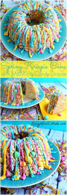 Rice Krispie Treat Cake with M&M's and frosting. Brings a simple kids treat up a level.