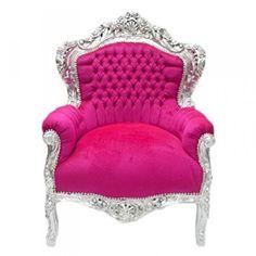 Casa Padrino Barock Sessel U0027Kingu0027 Pink / Silber Möbel Antik Stil