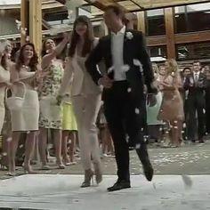 Leaving their wedding