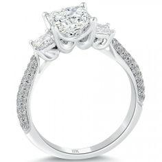 2.43 Carat F-VS2 Three Stone Princess Cut Diamond Engagement Ring 18k White Gold - Liori Exclusive Engagement Rings - Engagement - Lioridiamonds.com