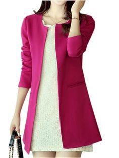 Color sólido trench abrigo simple