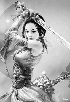 Rim Day by Fausto Mufale Geisha Kunst, Geisha Art, Geisha Tattoos, Warrior Girl, Fantasy Warrior, Fantasy Women, Fantasy Girl, Japanese Warrior Tattoo, Female Samurai