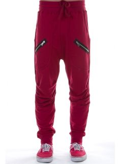 Low crotch sweatpants with two zippers on deep front pockets Burgundy. MENS hip hop dance sweats. MENS fashion. Jogger pants. MENS joggers. Harlem style sweats.