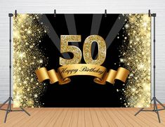 Custom Happy Birthday Backdrop Party Banner Glitter Gold and Black Background for Photography Studio Photo Booth Prop Moms 50th Birthday, Birthday Star, 60th Birthday Party, 50th Party, Gold Birthday, Birthday Wishes, 50th Birthday Party Decorations, Birthday Backdrop, Gold And Black Background