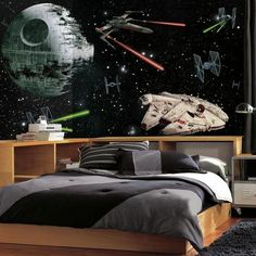 72 in. W x 126 in. H Star Wars Vehicles XL Chair Rail 7-Panel Prepasted Wall Mural, Multi