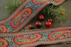 Paisley Party Festive Blue Red Gold Trim Ribbon by WomanShopsWorld, $3.95