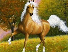 DANCING GOLD....a palomino prances amongst the fallen leaves on an autumn morning in the pasture....PRINTED