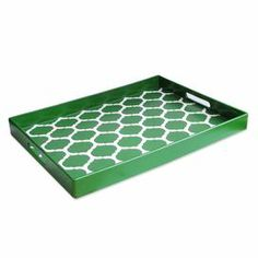"""Add a touch of style to your next soiree with this charming tray. Showcasing a trellis motif and bold green finish, it's perfect for serving ice-cold lemonade or setting out plates of cheese and charcuterie. Product: TrayConstruction Material: PolypropyleneColor: GreenFeatures: Trellis motifDimensions: 2"""" H x 19"""" W x 14"""" DCleaning and Care: Hand washing recommended"""