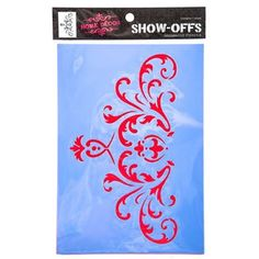"""Create dazzling decorative designs with this brilliant Ornate Scroll Stencil. Perfect for home decor, this stencil can be used on any clean, dry (and not glossy) surface. Stencil walls, furniture, fabric and more! Be a show-off, decorate in style! Dimensions: Stencil Length: 10"""" Stencil Width: 7"""" Design Length: 5 1/4"""" Design Width: 9 1/8"""" Each package includes 1 stencil sheet."""