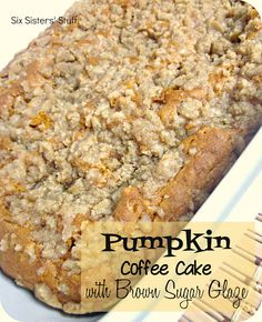 Pumpkin Coffee Cake with Brown Sugar Glaze Recipe:    Ingredients:  1/3 cup water  1 (15 ounce) can pureed pumpkin (not pumpkin pie filling)  2 eggs  1 tablespoon vanilla  2 teaspoons pumpkin pie spice  1 (18 ounce) box yellow cake mix  1 teaspoon baking soda  1/2 cup brown sugar  1/2 cup all purpose flour  4 tablespoons butter, melted